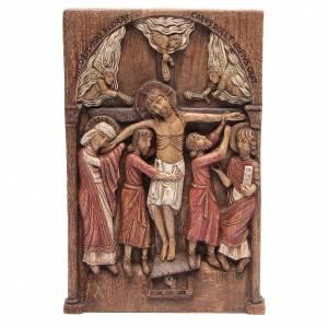 Bassorilievi vari: Bassorilievo Crocifissione di Silos 37,5x24,5 cm legno Bethléem