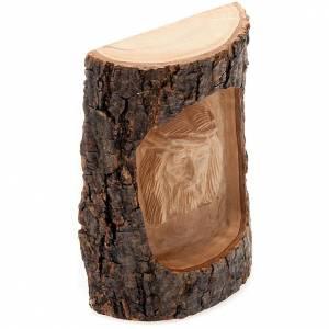 Bassorilievo legno Volto di Cristo occhi aperti s2