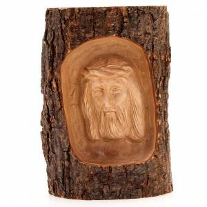 Bassorilievo legno Volto di Cristo occhi aperti s1
