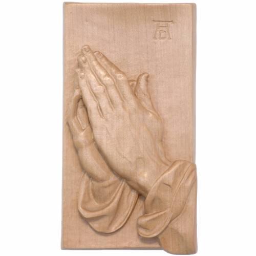 Bassorilievo mani giunte legno Valgardena patinato s1