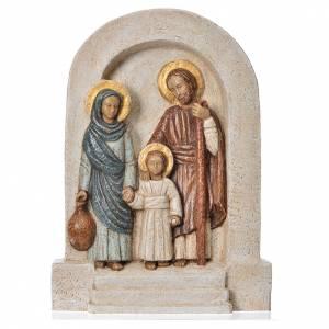 Bassorilievi pietra: Bassorilievo Sacra Famiglia pietra chiara dipinto vesti marrone