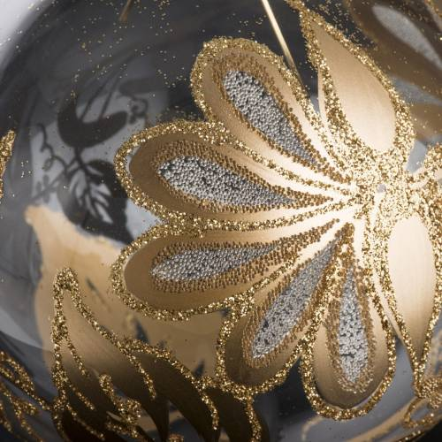 Bauble for Christmas tree, blown glass, transparent and gold 10c s3