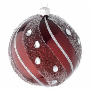 Christmas balls: Bauble in burgundy blown glass with silver decoration 100mm