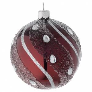 Christmas balls: Bauble in burgundy blown glass with silver decoration 80mm