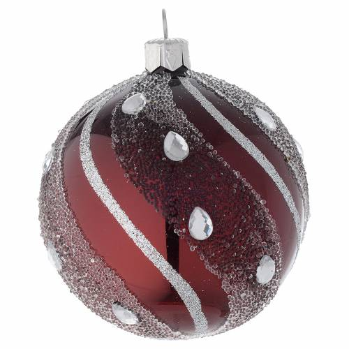 Bauble in burgundy blown glass with silver decoration 80mm s1