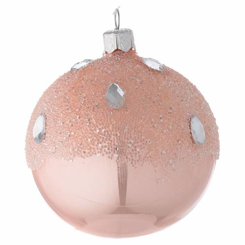 Bauble in pink blown glass with ice effect decoration 80mm s2