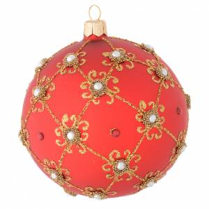 Bauble in red blown glass with pearls and gold decorations 100mm s2