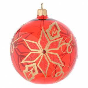 Christmas balls: Bauble in red blown glass with poinsettia 100mm