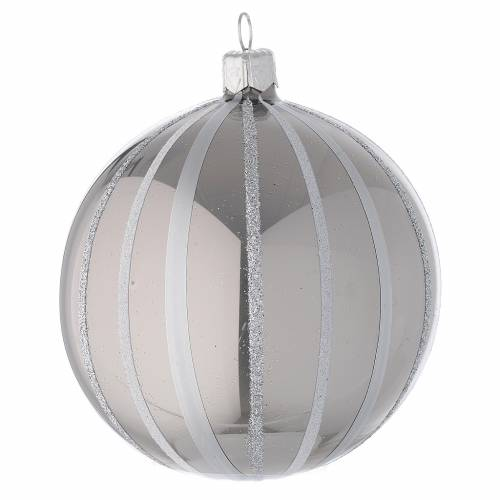 Bauble in silver blown glass with stripes 100mm s2