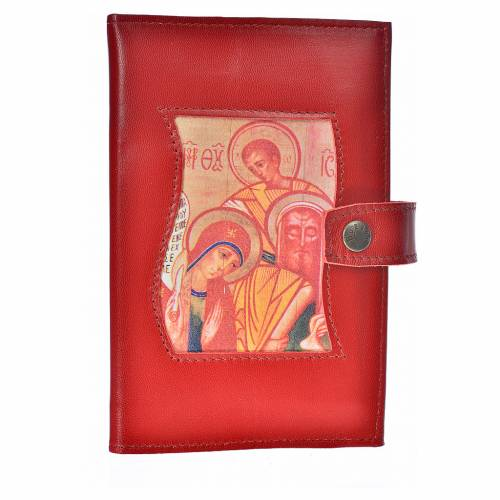 Bible cover reader edition, burgundy leather Holy Family s1