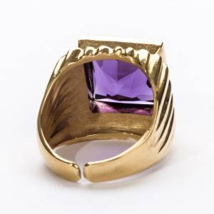 Bishop Ring in gold plated silver 800 with amethyst s5