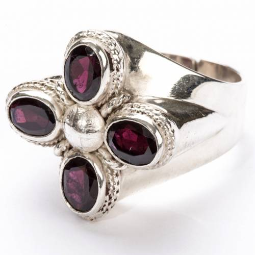 Bishop Ring in silver 800 with four garnet stones s5
