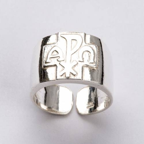 Bishop Ring with Chi-Rho, Alpha and Omega in silver 800 s5