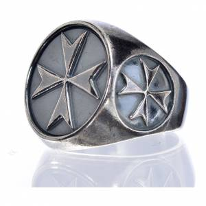 Bishop's ring in burnished 800 silver with Maltese cross s5