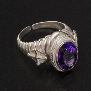 Bishop's ring made of 800 silver with amethyst s2