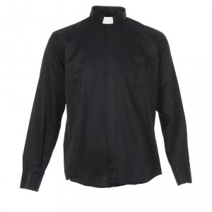 Black Jacquard tab collar shirt, long sleeve s1