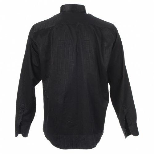 Black Jacquard tab collar shirt, long sleeve s2