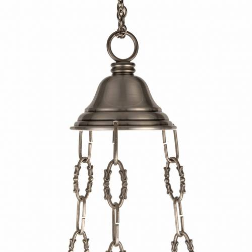 Blessed Sacrament lamp in satin brass with angels s6
