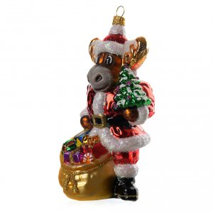 Blown glass ornaments: Blown glass Christmas ornament, reindeer with gifts