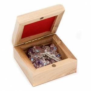 Étuis à chapelets: Boîte pour chapelet en bois d'olivier, Vierge du Ferr