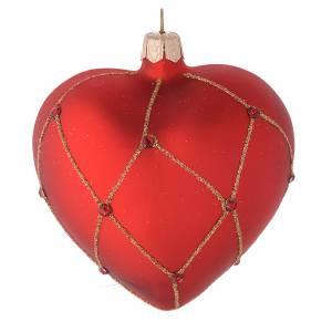 Bolas de Navidad: Bola de Navidad corazón de vidrio rojo con piedras y decoración oro 100 mm