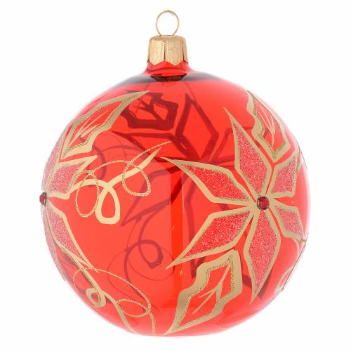 Bola de Navidad de vidrio soplado rojo con decoración flor de Navidad 100 mm s2