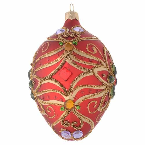 Bola de Navidad oval de vidrio rojo y decoración floral verde 130 mm s2