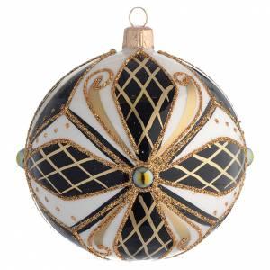 Bolas de Navidad: Bola de Navidad vidrio negro, blanco y oro 100 mm