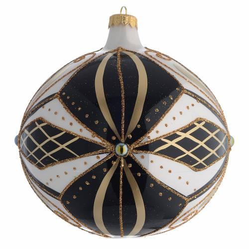 Bola de Navidad vidrio negro, blanco y oro 150 mm s1