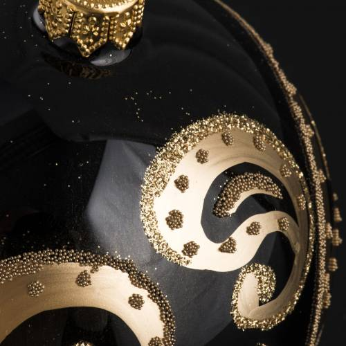 Bola de Navidad vidrio transparente, negro y dorado de 10cm s3
