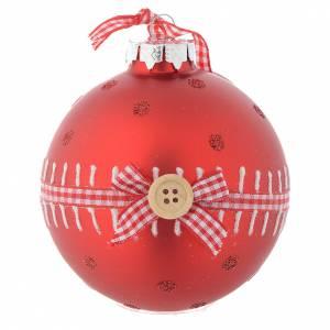 Bolas de Navidad: Bola vidrio roja árbol de Navidad 90 mm