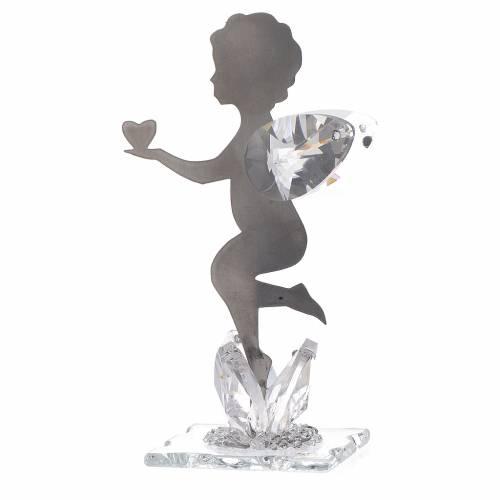 Bomboniera Angelo cuore inox cristallo h. 11 cm s2