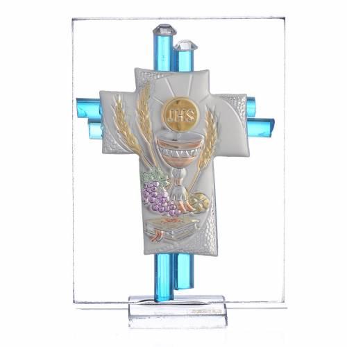 Bomboniera Comunione Croce vetro Murano acquamarina Arg. h. 8 cm s1