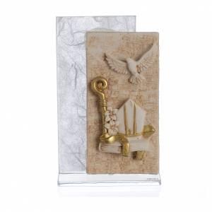 Bomboniere e ricordini: Bomboniera Cresima quadro carta seta Bianco 11,5 cm
