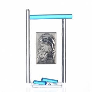 Bomboniere e ricordini: Bomboniera Nascita Arg. e vetro Murano acquamarina 13x8 cm