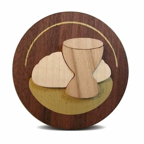 Bomboniera Azur tondo legno pane e vino s1