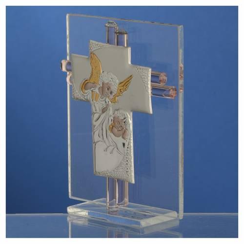 Bonbonnière Baptême croix verre Murano rose h 10,5 cm s3