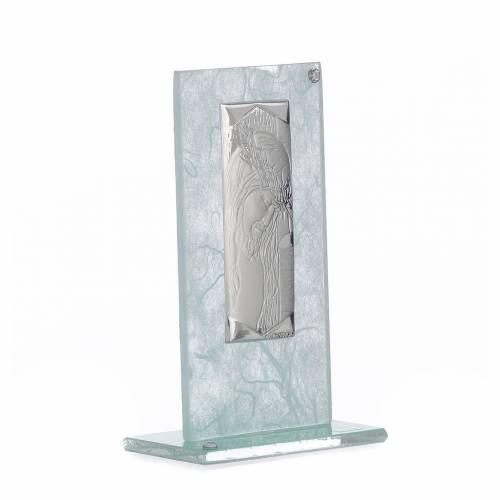 Bonbonnière Christ verre argent céleste h 11,5 cm s2