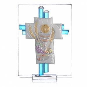 Bonbonnières: Bonbonnière Communion croix verre Murano aigue-marine arg h 8 cm