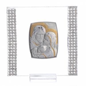 Bonbonnières: Bonbonnière Mariage Argent et strass Ste Famille 7x7 cm