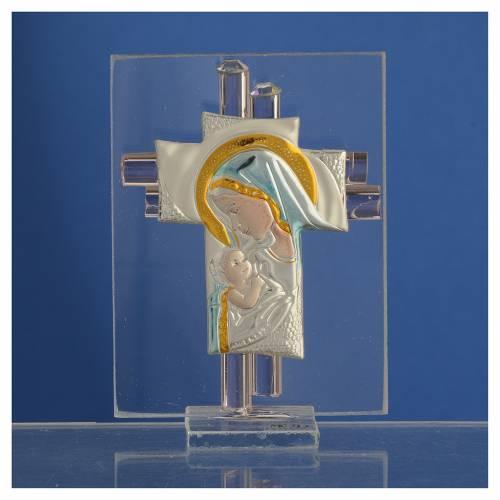 Bonbonnière Maternité croix verre Murano rose arg h 8 cm s2