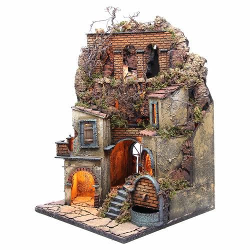 Borgo presepe napoletano con fontana e luce 60x40x40 s2