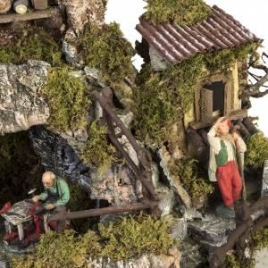 Borgo presepe stile napoletano con capanna luci fontana fuoco s6