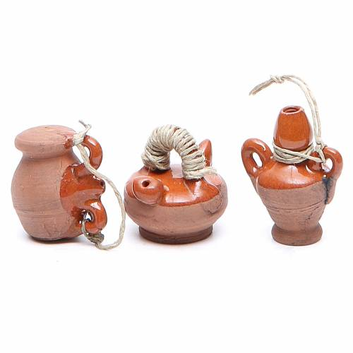 Bottles in terracotta for DIY nativities, 3cm assorted models s2