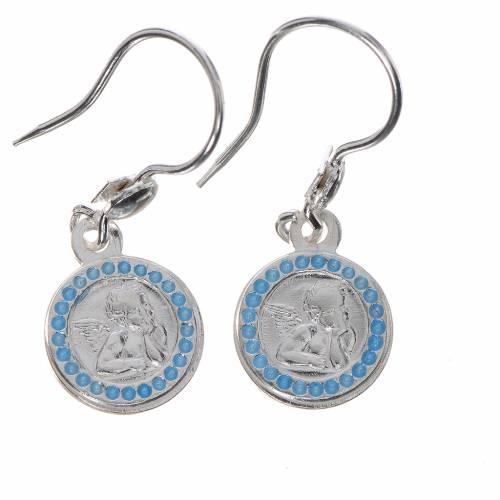 Boucles d'oreilles Ange gardien argent 800 fin. bleu clair s1