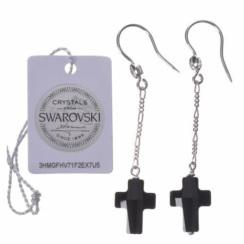 Boucles d'oreilles argent 800 croix Swarovski noir s2