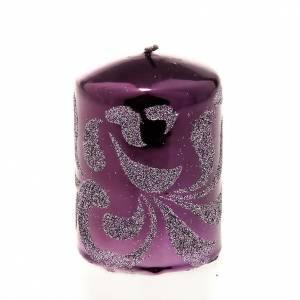 Bougie déco Noël violette s1