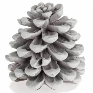 Bougie de Noël pomme de pin blanche s1