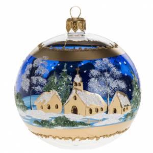 Boule de Noel bleu paysage enneigé 10 cm s1