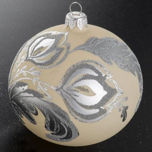 Boule de Noel verre argent ivoire 10 cm s2